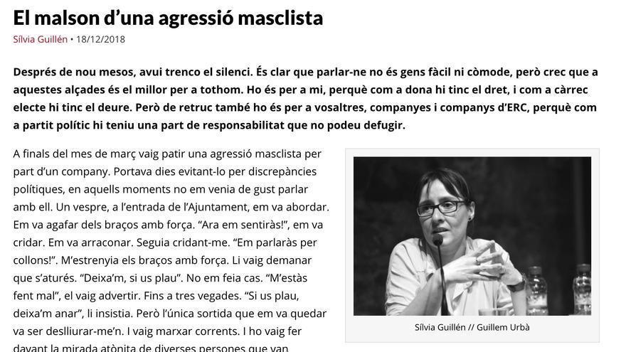 Extracto del artículo de la concejal de ERC en Molins de Rei