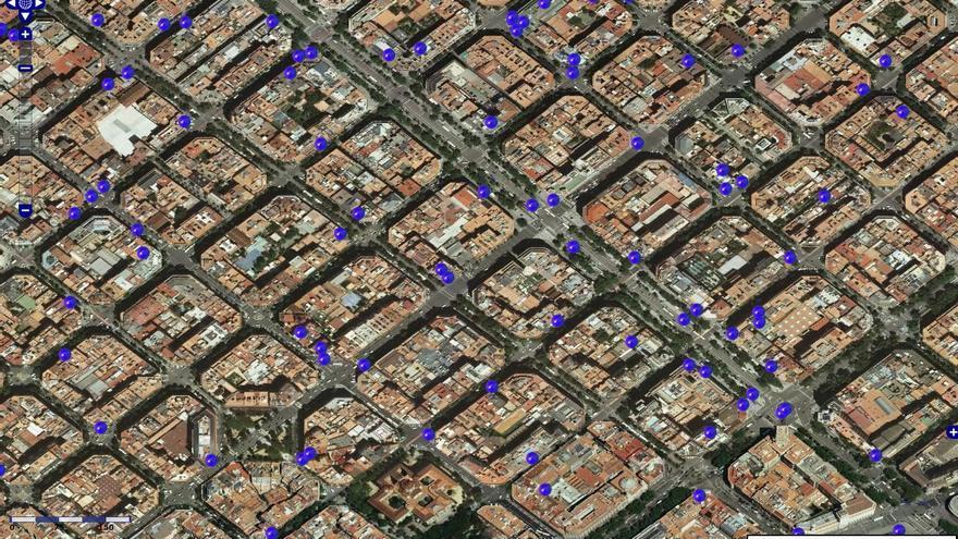 Mapa que muestra la ubicación de las antenas de telefonía en el centro de Barcelona.