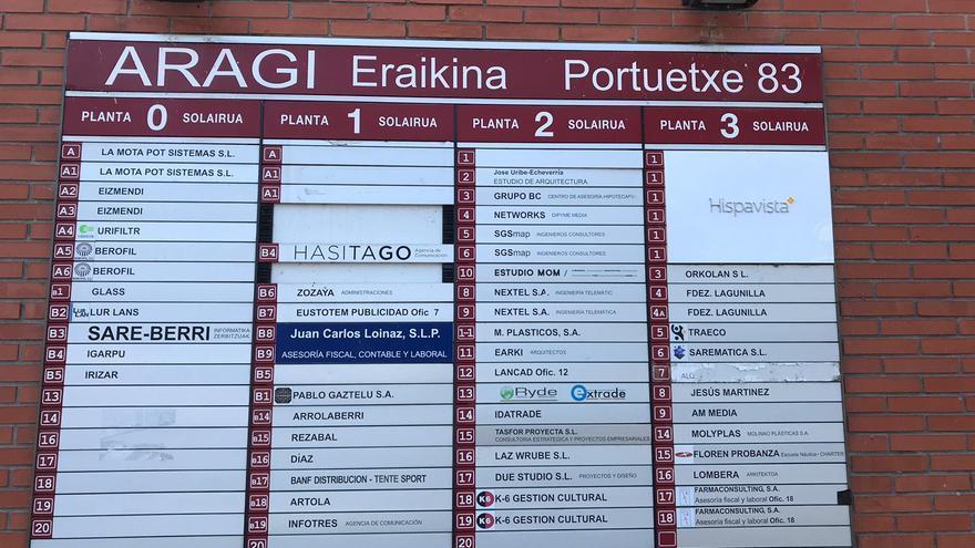 Directorio de empresas en unas oficinas de San Sebastián