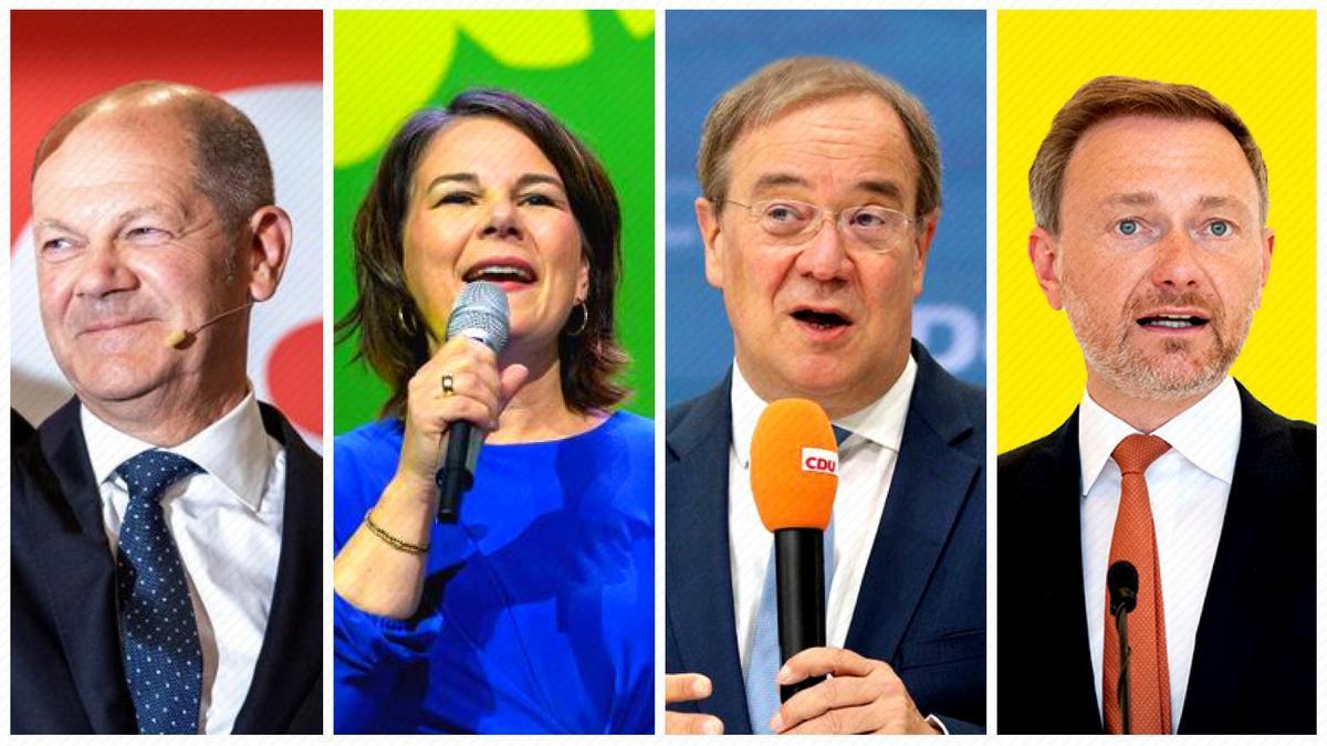 Olaf Scholz (SPD, socialdemócratas), Annalena Baerbock (Verdes), Armin Laschet (CDU, conservadores) y Christian Lindner (FDP, liberales)