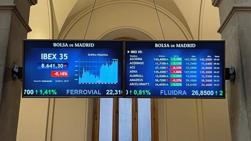 El IBEX 35, el principal selectivo español, se ha dado la vuelta en los primeros compases de la sesión y, pese a comenzar este viernes a la baja afectado por las caídas de Wall Street en la víspera, logra subir el 0,15 %. En concreto, a las 9.20 el IBEX 35 suma 12,90 puntos, ese 0,15 %, hasta los 8.669,70 enteros. EFE/Ana Bornay