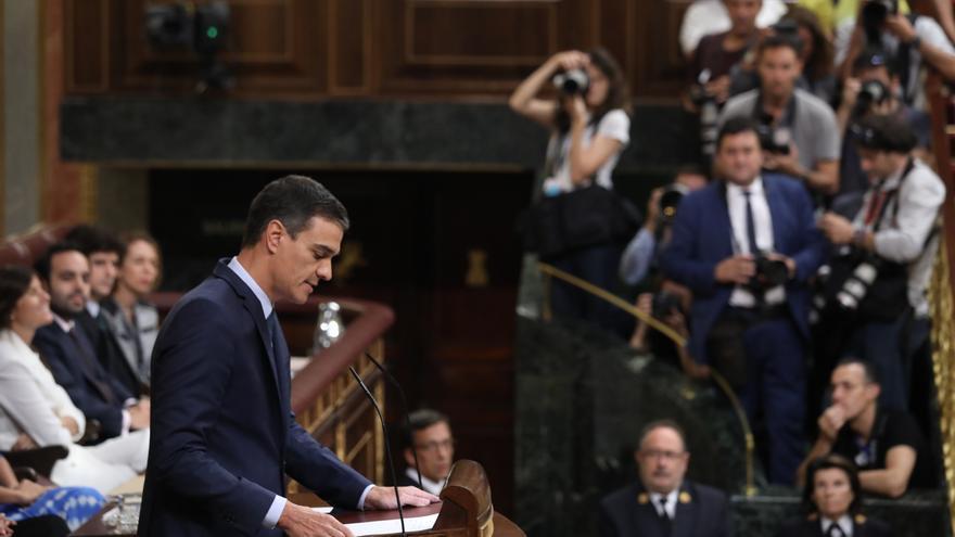 El presidente en funciones, Pedro Sánchez, durante la segunda votación de investidura.