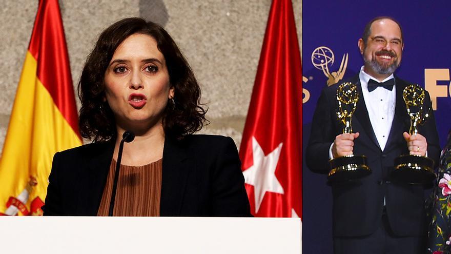 Isabel Díaz Ayuso (izq) y Craig Mazin (dcha)
