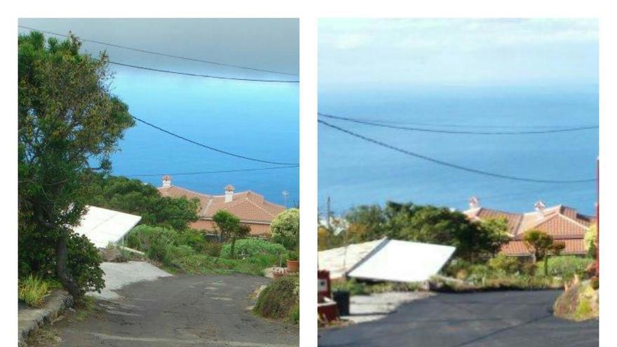 Imágenes de un tramo del Camino de El Hoyo, antes y después de la obra de repavimentado.
