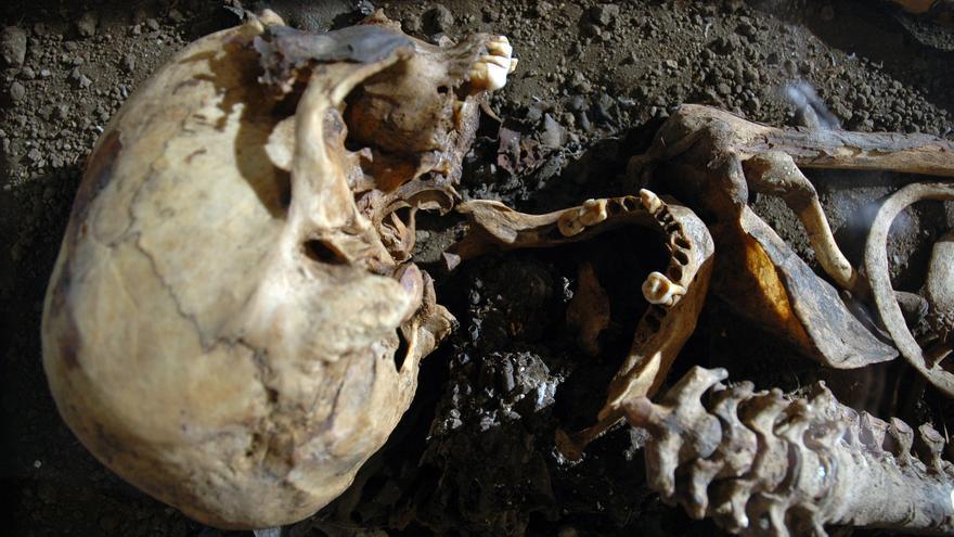 En la imagen, cráneo y parte superior de la momia de El Espigón. Foto: JORGE PAIS.