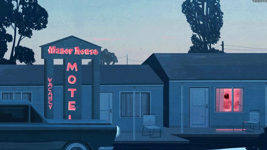 Ilustración para 'El motel del voyeur'