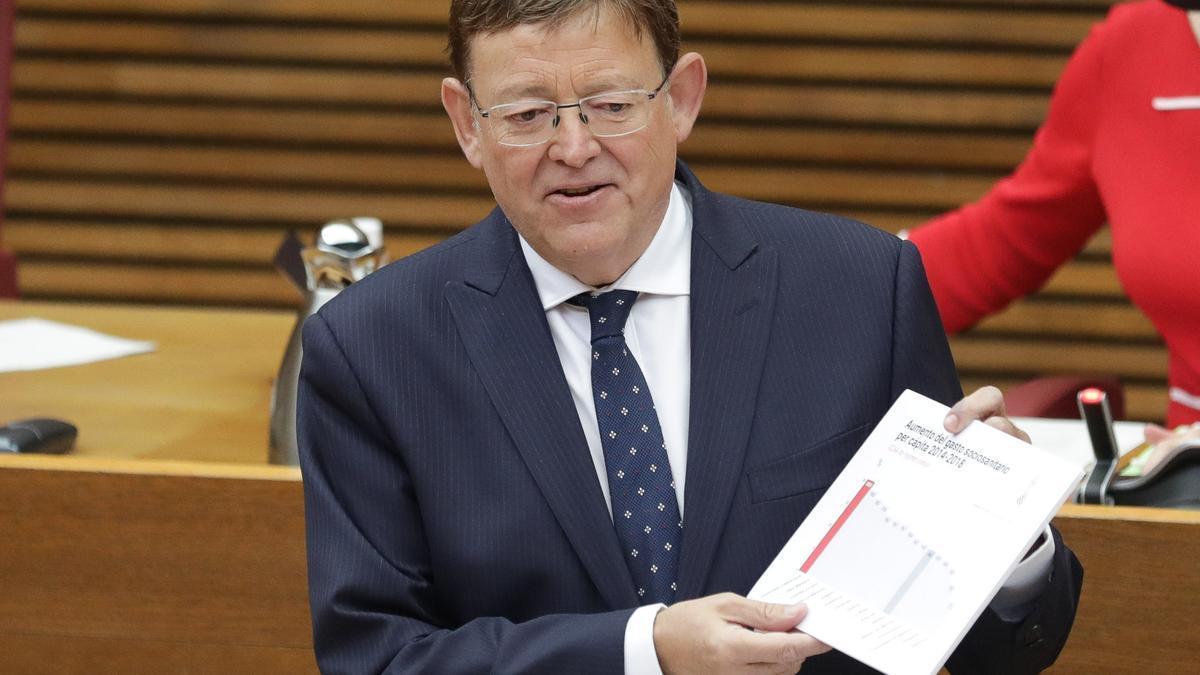 El president de la Generalitat, Ximo Puig, durant el debat de política general del 2020.