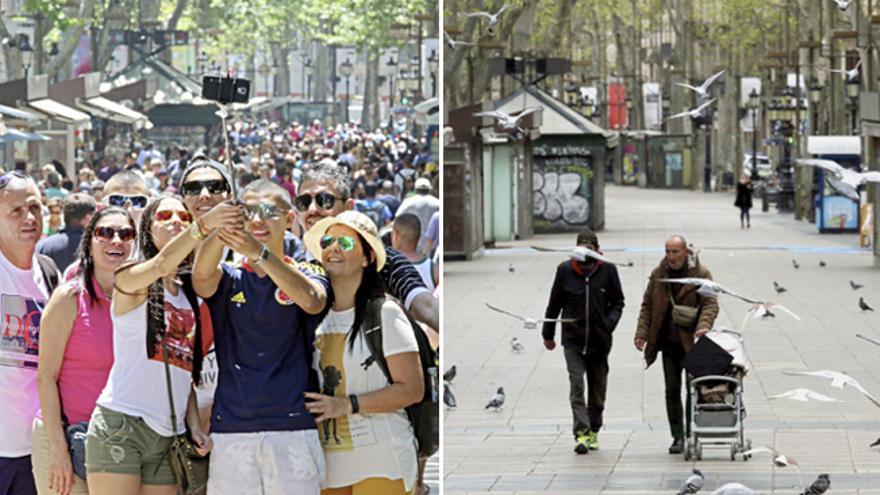 La Rambla de Barcelona llena de turistas, antes de la epidemia, y sin transeúntes durante el estado de alarma