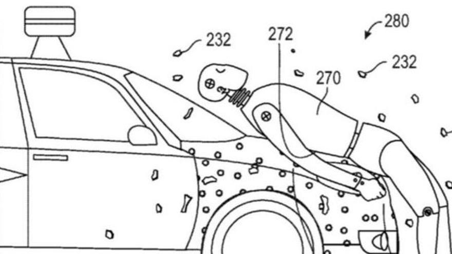 El capó ideado por Google hace que los peatones queden adheridos a él