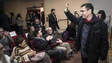 Juan Carlos Monedero, en un acto de la campaña interna de Podemos.