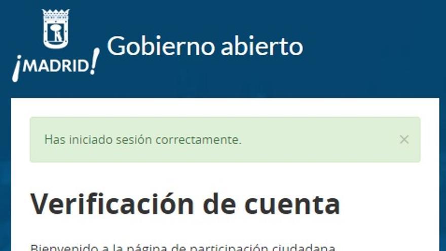 Verificación de la identidad de los usuarios de la web de Gobierno Abierto de Madrid.