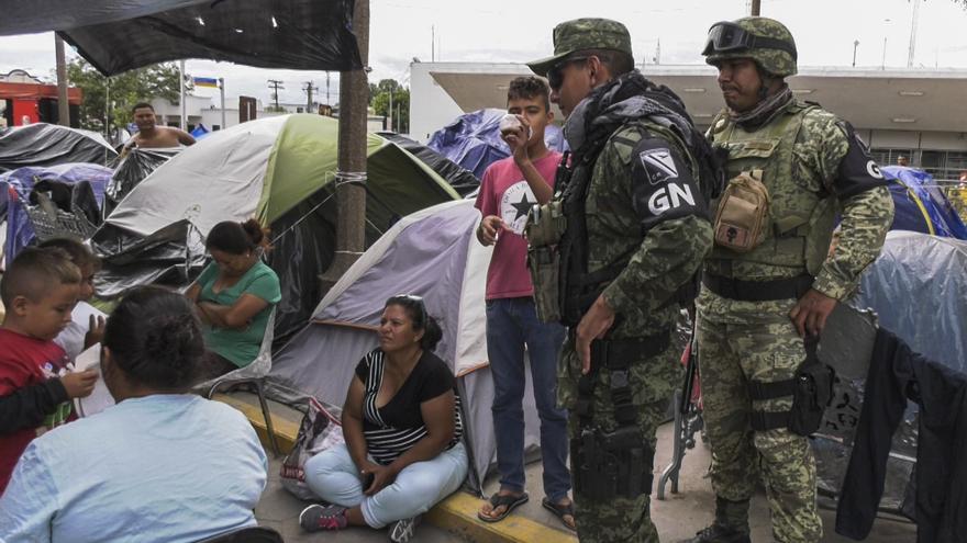 Asentamiento de migrantes frente al puesto fronterizo en Matamoros, ciudad cercana a Reynosa