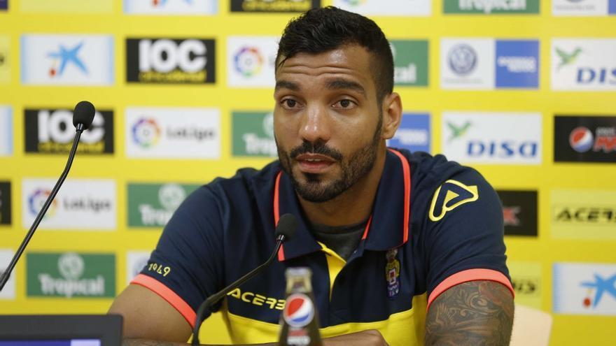 El jugador de la UD Las Palmas, Michel Macedo.