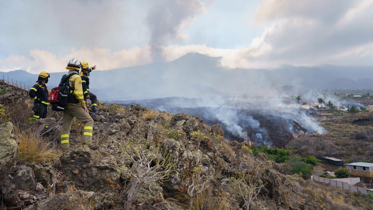 Varios bomberos observando el avance de la lava en La Palma.