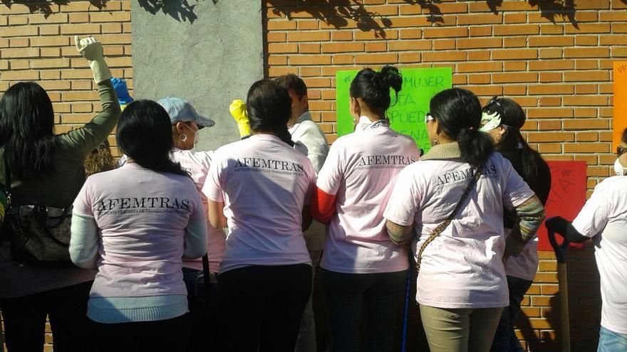 Varias integrantes de AFEMTRAS realizaron una performance para presentar la plataforma el pasado 14 de octubre