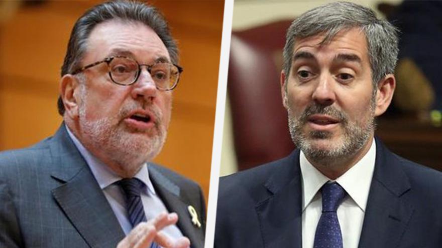 El portavoz de Junts per Catalunya en el Senado, Josep Lluís Cleries, y el senador por CC, Fernando Clavijo.