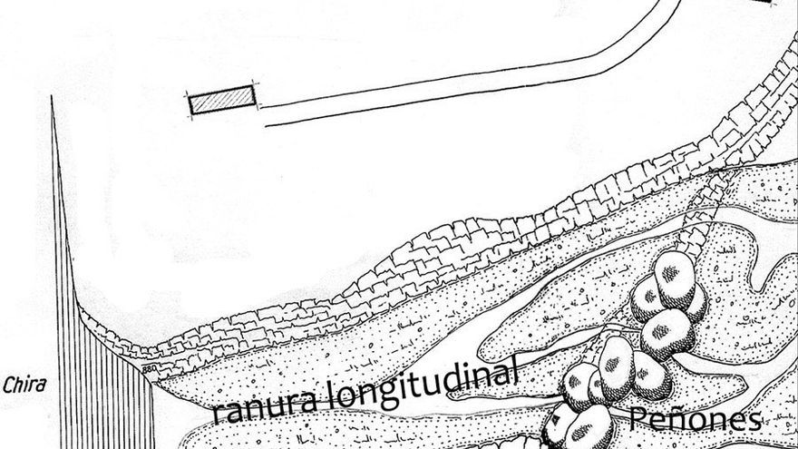 Detalle de la ranura longitudinal y Los Peñones.