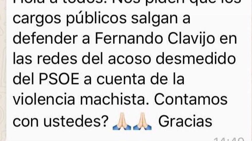 Mensaje en cadena para pedir apoyo en redes sociales a Fernando Clavijo