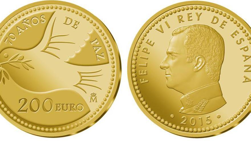"""La moneda contiene la inscripción """"70 años de paz"""""""