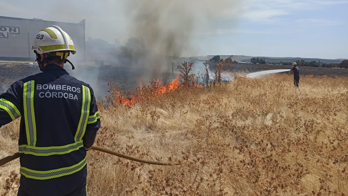 Los bomberos apagando el incendio