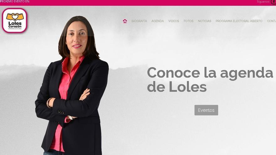 La web de Loles López, sin mención alguna a su partido (solo en su biografía) y sin usar el color azul corporativo.