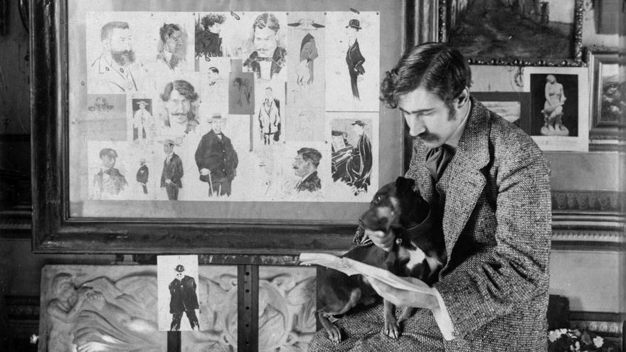 Ramón Acín y su perro Tobi. Imagen cortesía del Museo Pedagógico de Aragón.