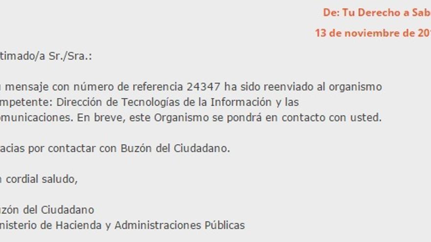 Última respuesta del Ministerio de Hacienda a la petición de Que hacen los ciudadanos