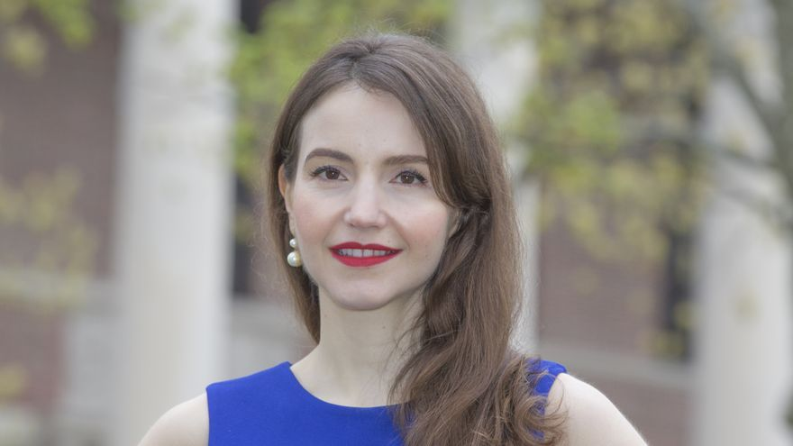 May 4, 2019: Cambridge, Massachusetts, U.S.: Harvard University professor STEFANIE STANTCHEVA, winner of the 2019 Best Young Economist Award by Le Cercle des Economistes in France, in front of the Widener Library on the campus of Harvard University.