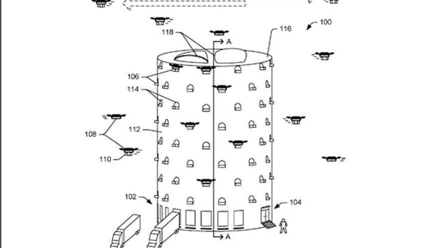 Una de las patentes de la compañía muestra un edificio donde convivirán humanos y robots