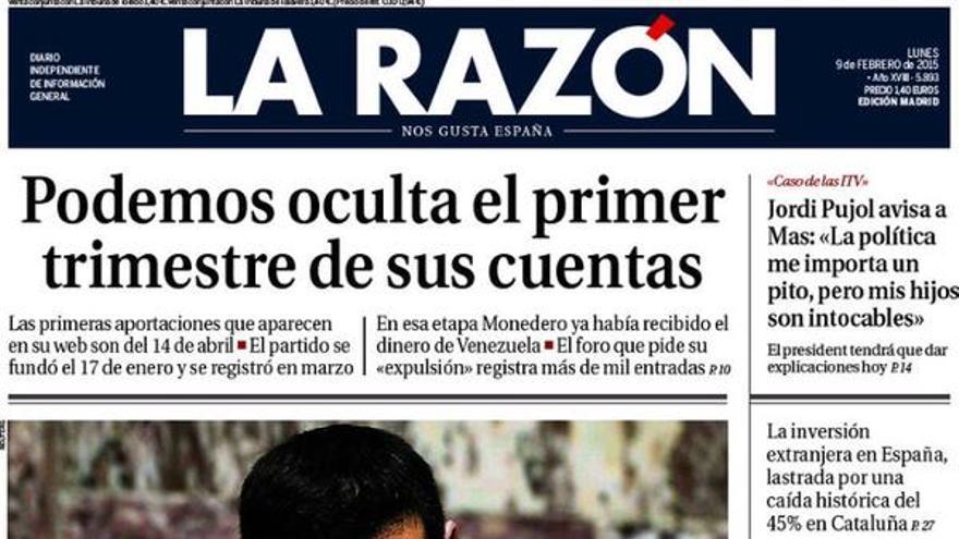 Portada de La Razón el 9 de febrero.