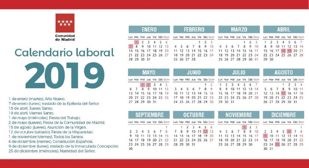Calendario Laboral Construccion 2020.Calendario Laboral 2019 En Madrid Dos Traslados De Festivos Al