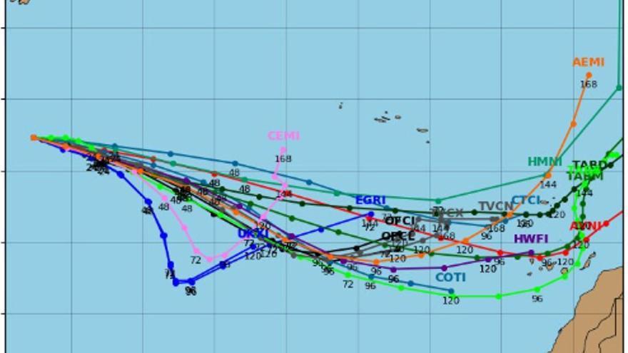 Modelos de predicción de la trayectoria del Huracán Leslie.