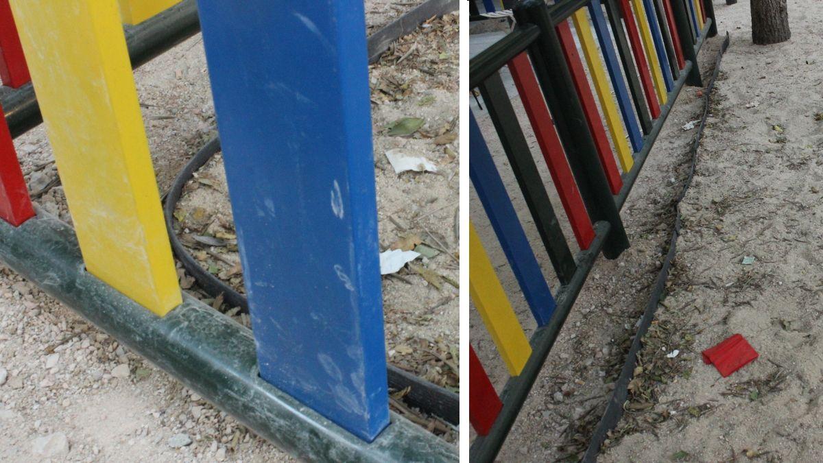 Detalle de la goma para separar la arena de la zona infantil de la plazuela de la Memoria Trans | SOMOS CHUECA