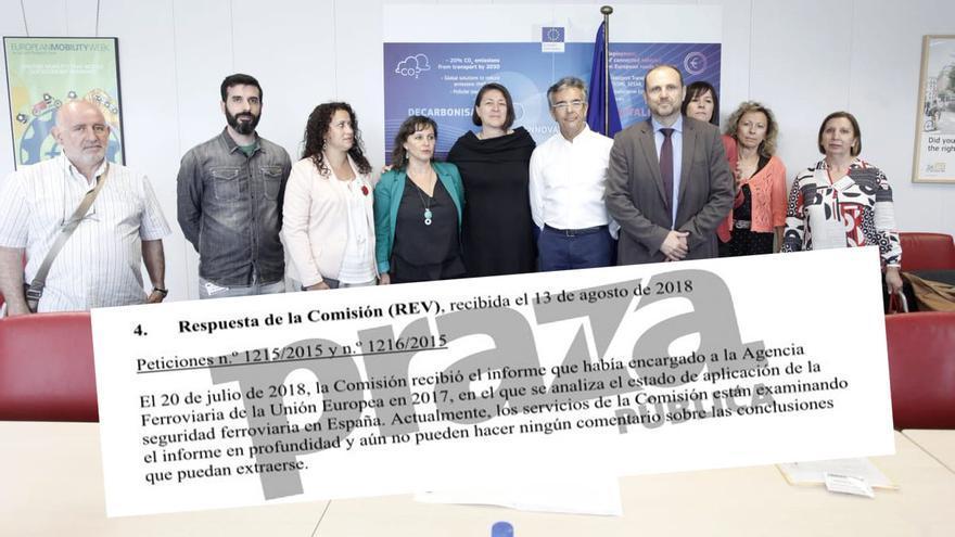 Víctimas de Angrois y representantes del BNG con la comisaria de Transporte, Violeta Bulc, de negro