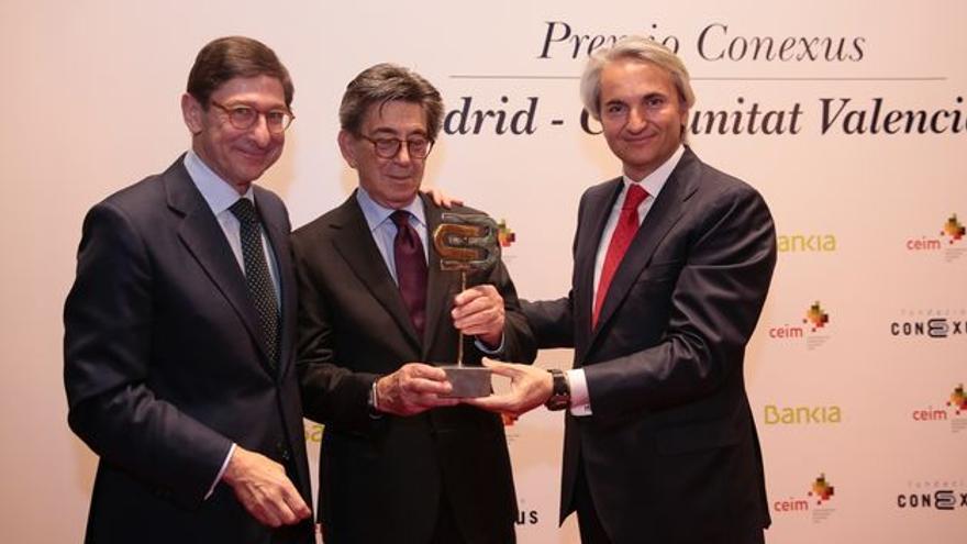 José Ignacio Goirigolzarri, Héctor Colonques y Manuel Broseta, en un acto del lobby valenciano en Madrid Connexus.