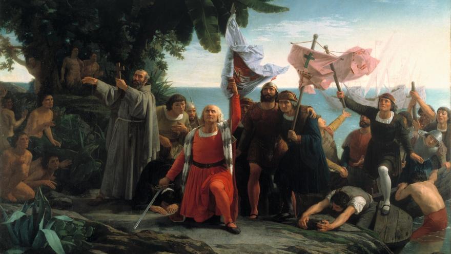 'Primer desembarco de Colón en América', de Dióscoro Teófilo Puebla (1862).