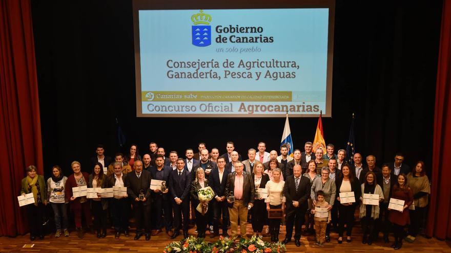 Foto de los galardonados en el concurso Agrocanarias 2017, este sábado en Arucas
