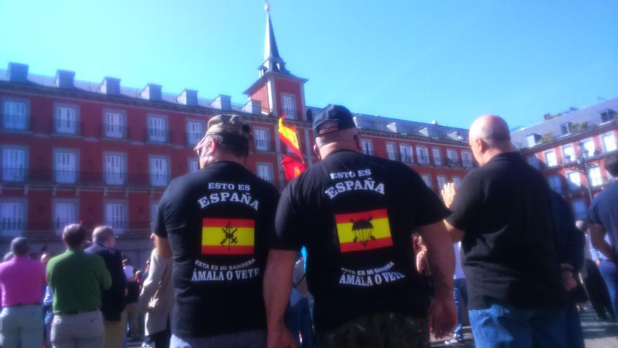 Concentración en favor de Millán Astray en la plaza Mayor de Madrid.