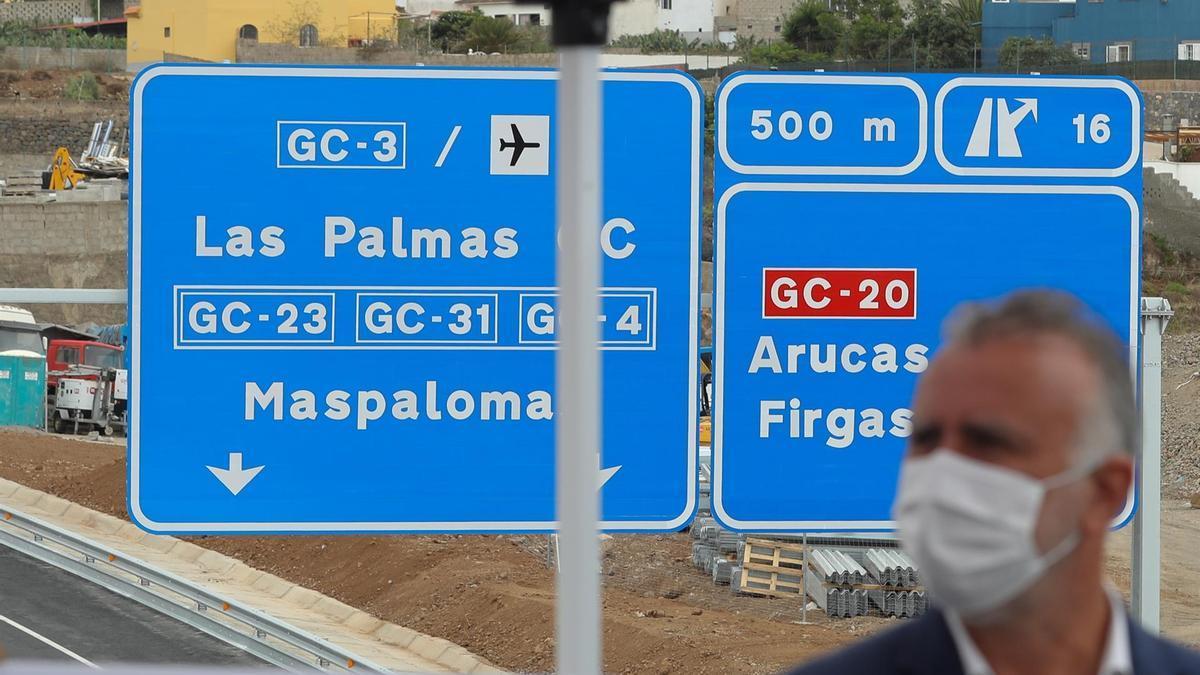 El presidente del Gobierno de Canarias, Ángel Víctor Torres, asistió este miércoles a la puesta en servicio del tramo Arucas-Costa de la IV fase de la circunvalación a Las Palmas de Gran Canaria