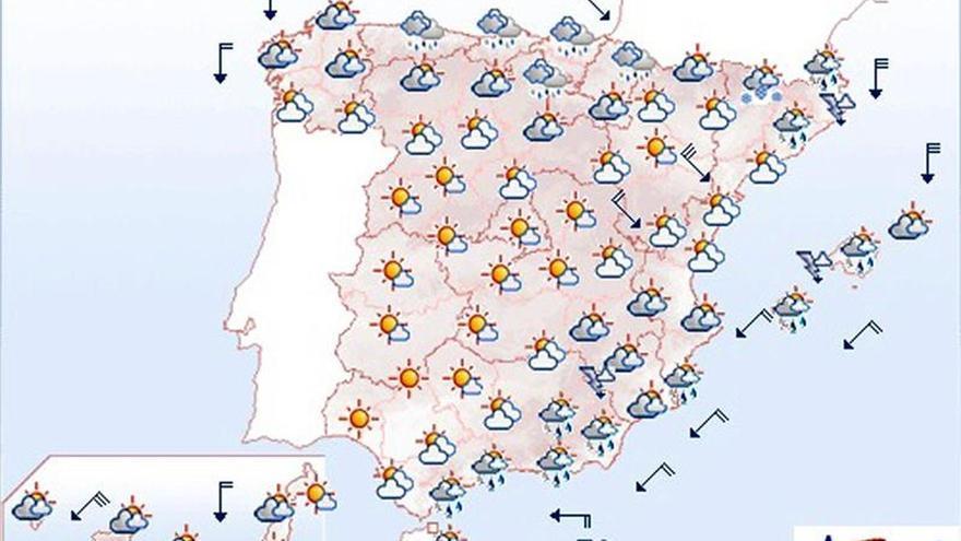 Hoy, chubascos fuertes en Melilla, sureste de Andalucía y Cataluña
