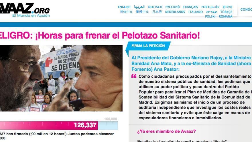 Campaña de firmas en Avaaz.org a mediodía del jueves 20 de diciembre
