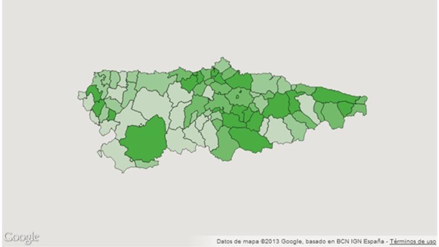 Imagen 4: Tasa de desempleo en Asturias. Distribución por concejos. Año 2012. Fuente: Observatorio de Salud de Asturias.