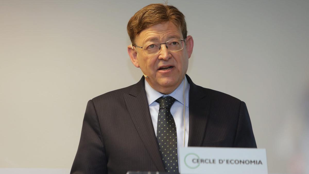 El president de la Generalitat, Ximo Puig, en su conferencia en el Círculo de Empresarios en Barcelona.