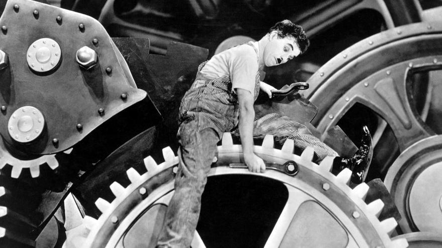 Charles Chaplin en 'Tiempos Modernos'
