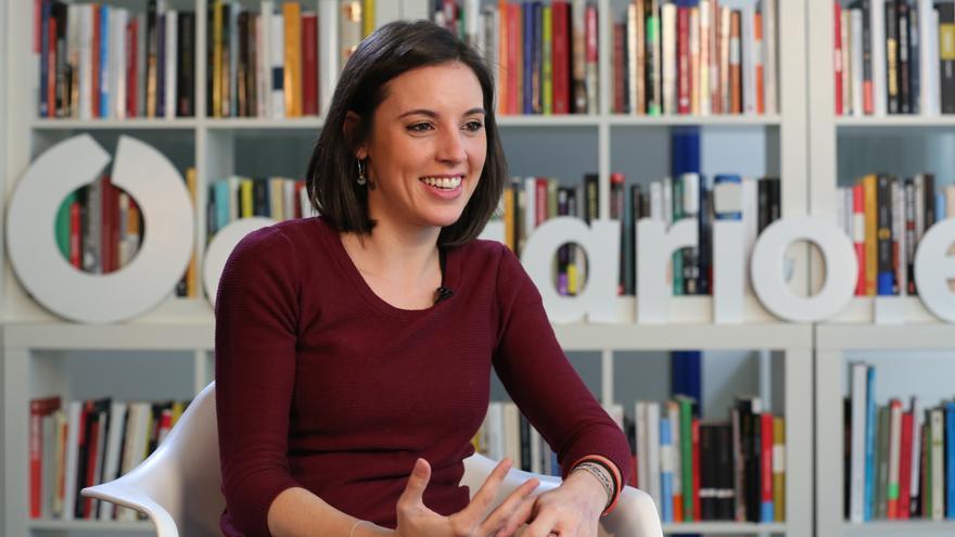 Irene Montero, durante la entrevista en la redacción de eldiario.es