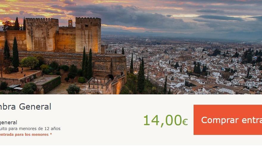 Pantallazo de la web de compra de entradas de la Alhambra