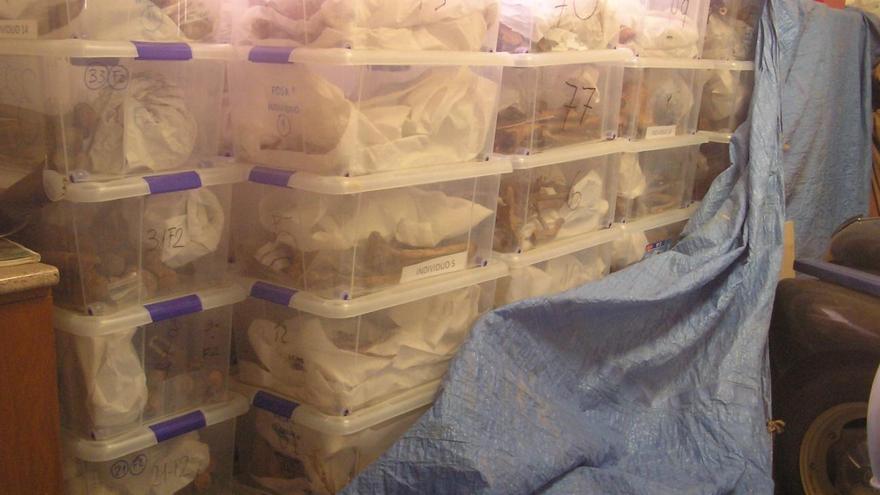 Los restos humanos que están en un almacén.