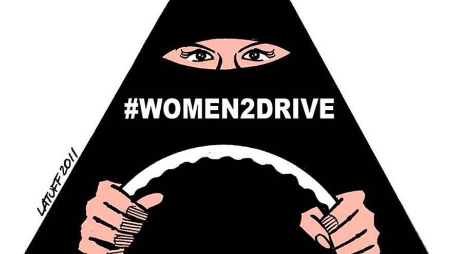 """Caritacura de Latuff para la campaña """"Women to Drive"""" en Arabia Saudí"""