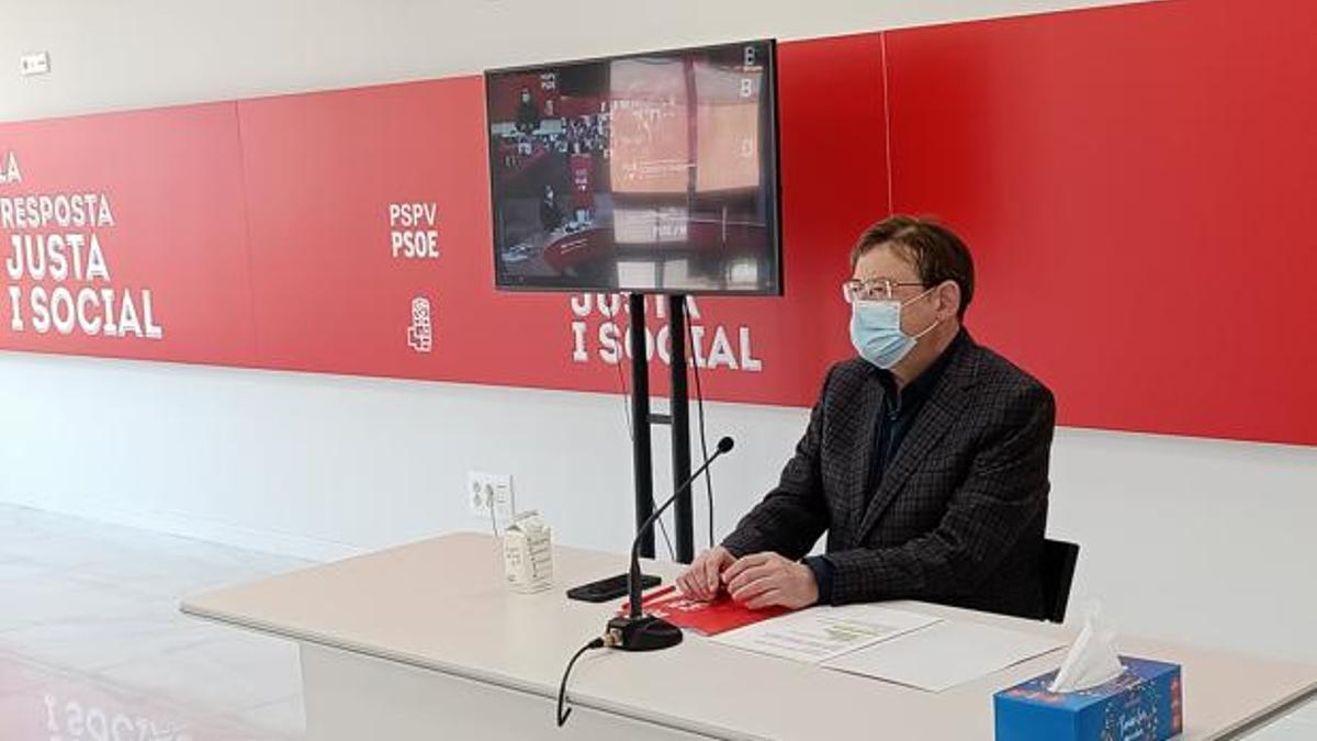 Ximo Puig participa telemáticamente en en la reunión del Comité Federal del PSOE.