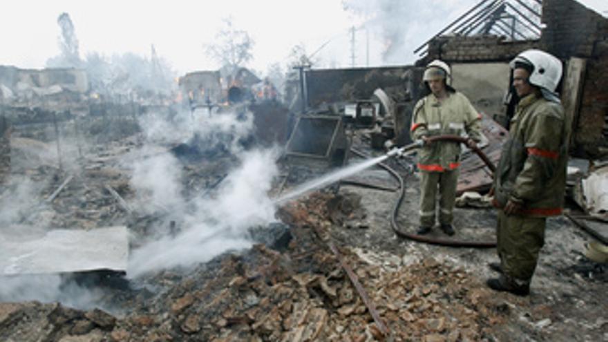 Ola de incendios en Rusia